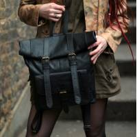 Black Fold-over Leather Rucksack