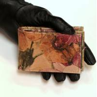 Tiny Wallet Italian Floral Print Leather