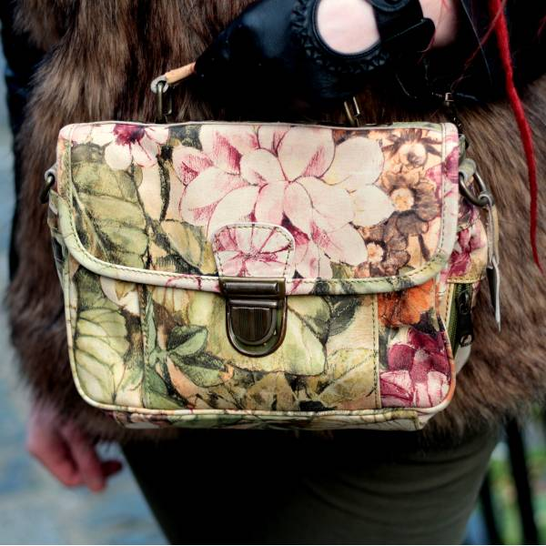 Funky Bag Italian Floral Leather Mini Satchel