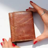 Leather Tan & Apple Green Trifold Wallet
