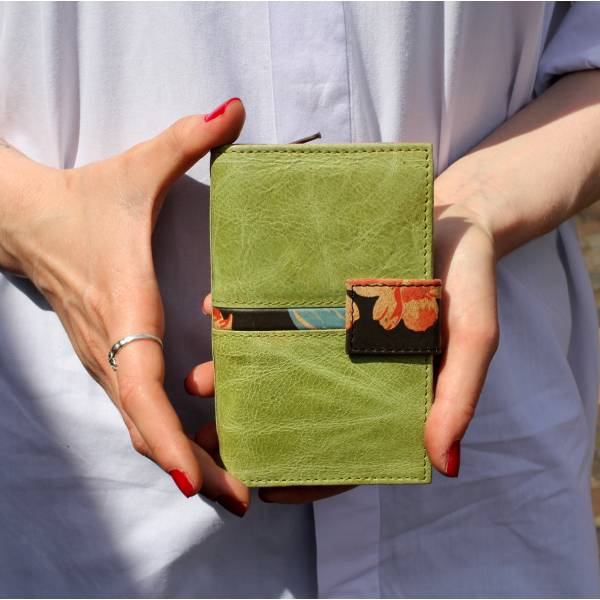 Fifi Apple Green and Spanish Floral Leather Wallet