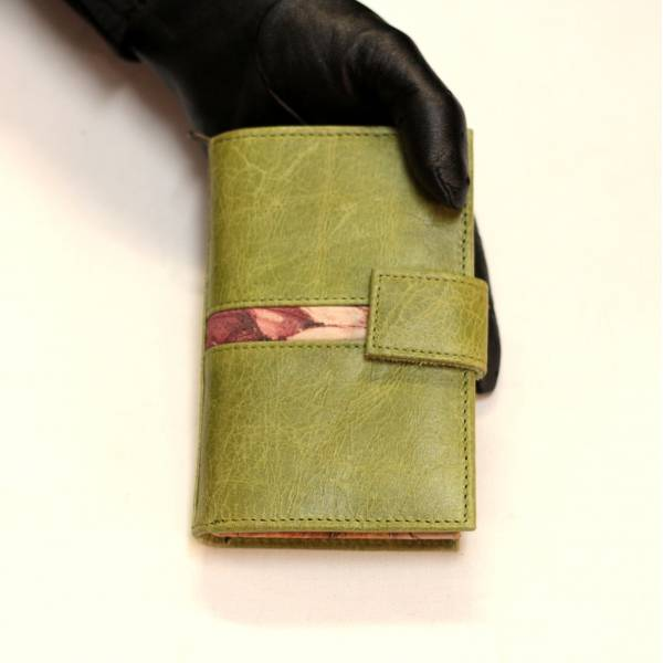Apple Green and Italian Floral Leather Wallet