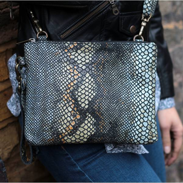 Sleeve Black Snake-effect Leather Clutch-Bag