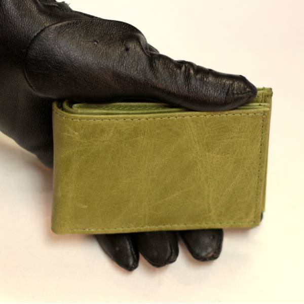 Tiny Wallet Distressed Apple Green Leather