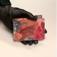 Large Tiny Wallet French Floral Print Leather