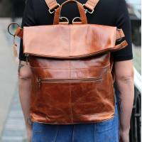 Belgian Rucksack Tan Scrunchy Leather