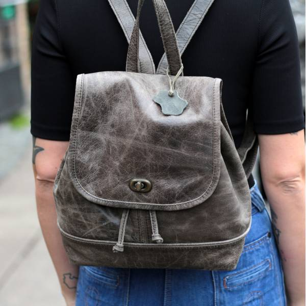 Barcelona Small Rucksack Charcoal Grey Leather
