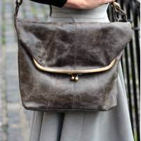 Dublin Large Clip Bag Charcoal Leather