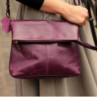 Mini Amelie Foldover Purple Leather Bag