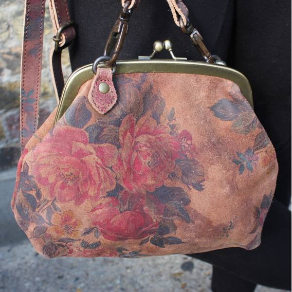 Large Dark Floral Leather Bag