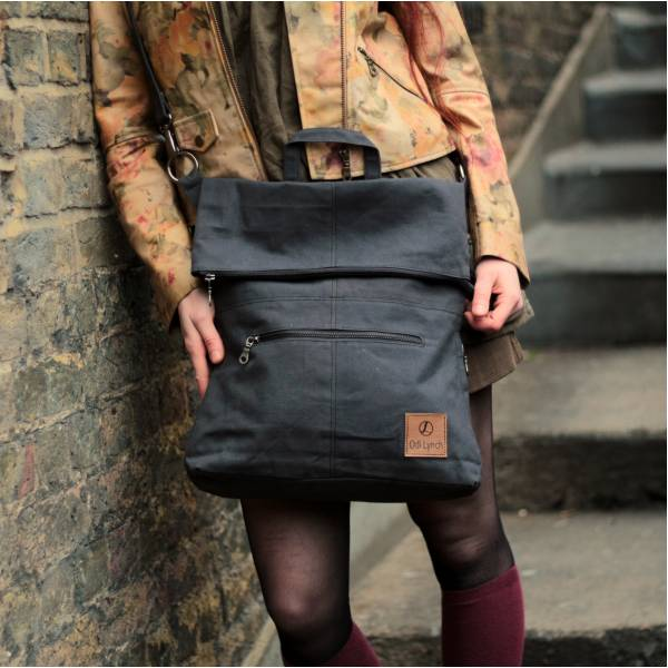 Convertible Zip Vegan Rucksack Charcoal