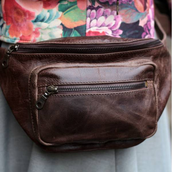 Double Brown Leather Bumbag