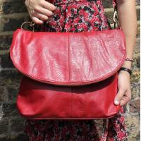 Dublin Large Zip Bag Red Leather