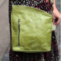 Marina Apple Green Leather Crossbody Bag