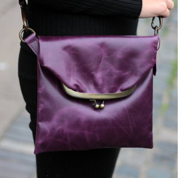 Mini Dublin Clip Bag Purple Leather