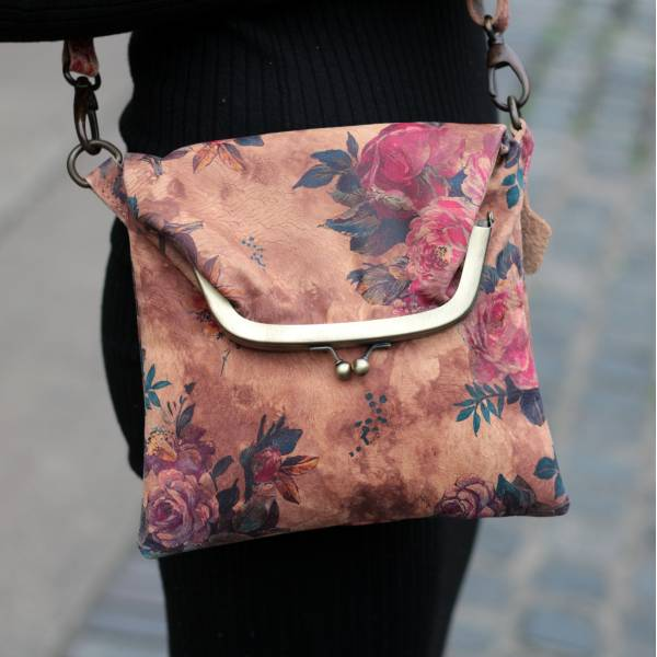 Mini Clip Bag Floral 14  Leather