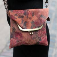 Mini Clip Bag Floral 14 Darkest Leather
