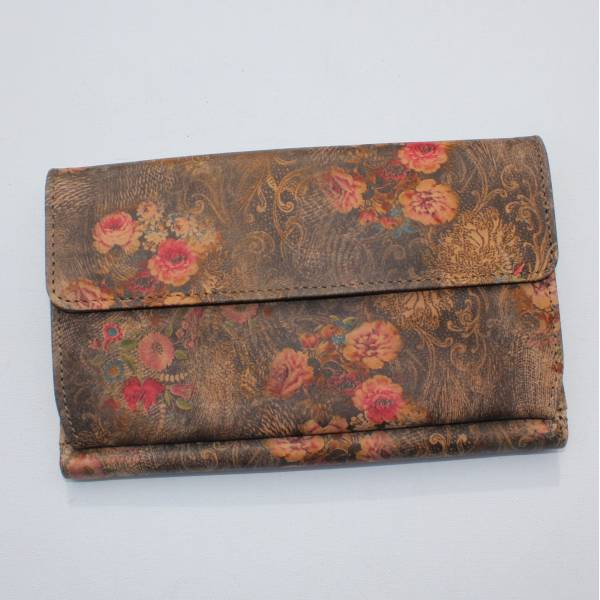 Travel Wallet Floral n21 brownish Leather