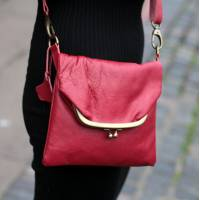 Mini Clip Bag Red Leather