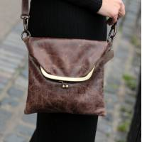 Mini Clip Bag Brown Distressed Leather