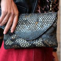 Sligo Clutch Leather Black Snake Effect Bag