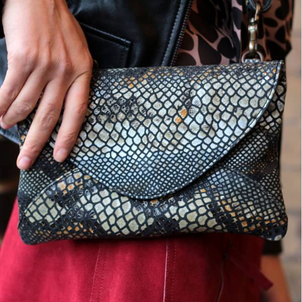 Clutch Leather Black Snake Effect