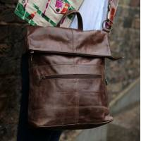 Belgian zip Convertible Zip Rucksack Brown