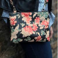 Sleeve Spanish Floral Print Leather Cross Body and Clutch Bag