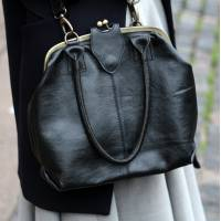 Lucy Frame Bag  Black Leather