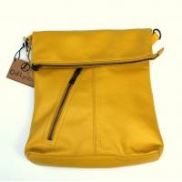 Amelie Yellow Leather Messenger Bag