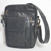 Alfie Men's Multipocket Black Leather Bag