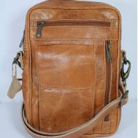 Men's Tan Scrunchy Leather Bag