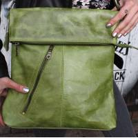 Apple Green Leather Messenger Bag