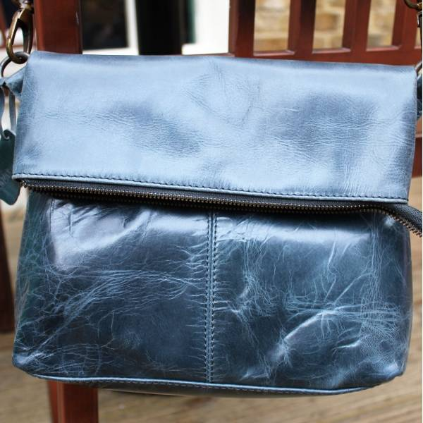 Foldover Navy Blue Leather Bag