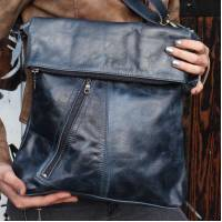 Navy Leather Messenger Bag
