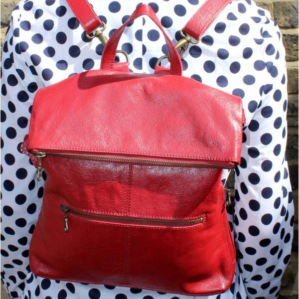 Amelie Convertible Backpack Red Leather