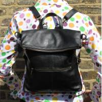 Amelie Convertible Ruckbag Black Leather
