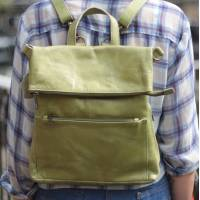 Convertible Ruckbag Apple Green Leather