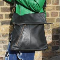 Amelie Black Messenger Bag with slanted pocket