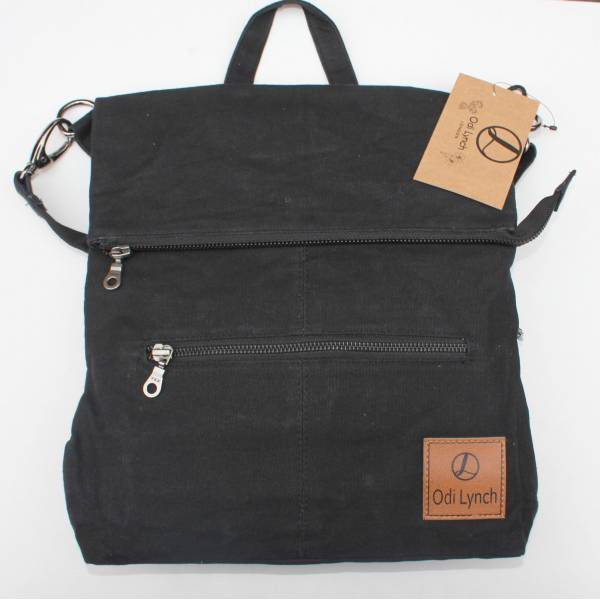 Amelie Backpack Convertible to Bag Black Waxed Cotton