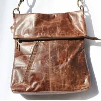 Brown Scrunchy Leather Messenger Bag with side pocket