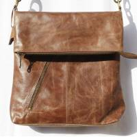 Amelie Light Brown Leather Messenger Bag