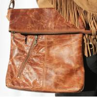 Tan Scrunchy Leather Messenger Bag