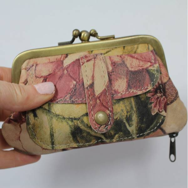 Amy Double Clip Purse Italian Floral Leather