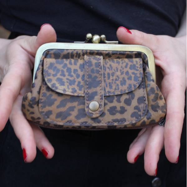 Amy Leopard Print Leather Wallet