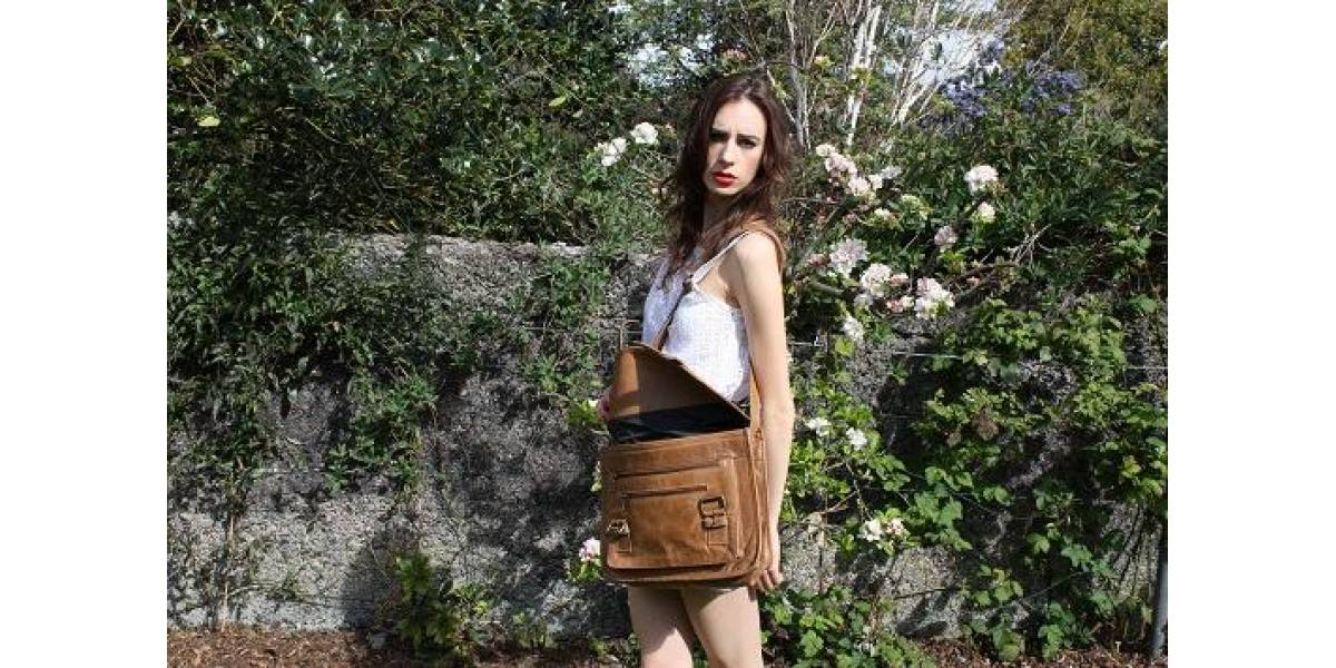 Tan Double Zip Satchel