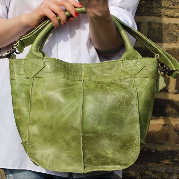Small Tote Apple Green Leather