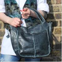 Bach Small Tote Bag Navy Leather