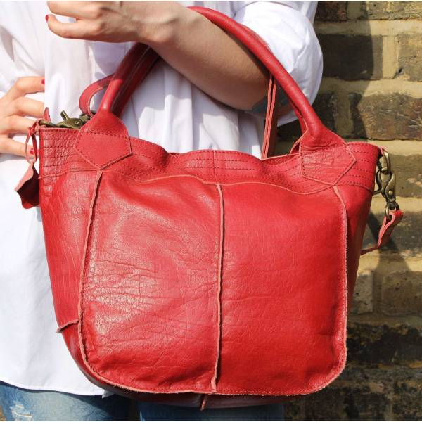 Small Tote Bag Red Leather
