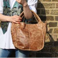 Small Tote Bag Tan Scrunchy Leather